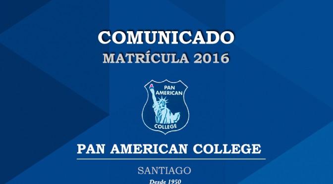 COMUNICADO MATRÍCULA 2016
