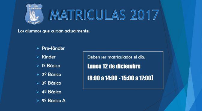 MATRÍCULAS 2017 – LUNES 12