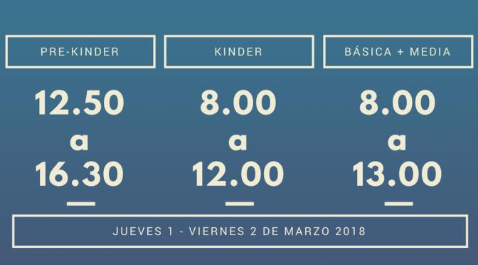 HORARIO REGRESO A CLASES 2018