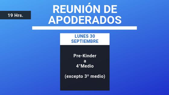 Reunión de Apoderados Lunes 30 Septiembre